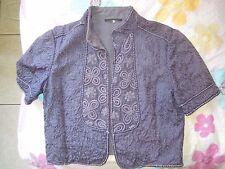 Navy blue floral embroider Elie Tahari cotton/silk lined half sleeve jacket, ps
