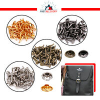 50pcs Double Cap Rivets Set Extra Long Brass Studs for Bags Footwear Clothing