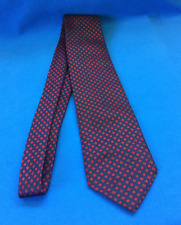 ALAIN DELON Paris Tie Black Dark Red Pattern on Navy Blue