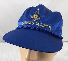 Vtg Kansas Mason Hat Snapback Cap Satin Blue Freemason Shriners 80 s 1e7cdfd28a54