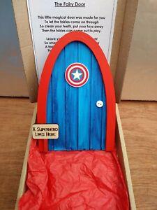 Captain America inspired boys girls tooth/Christmas fairy/Elf door superhero
