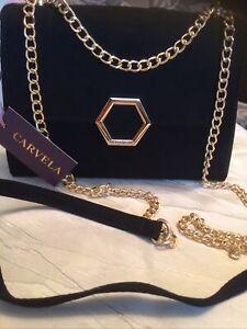 Carvela Shoulder Bag. Black Suedette. Gold Chain.