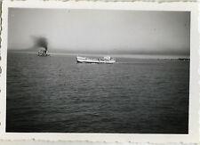 PHOTO ANCIENNE - VINTAGE SNAPSHOT - ST NAZAIRE BAC DE MINDIN DRAGUE - BOAT 1955