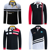 New Men Patchwork Polo Shirt Long Sleeve Striped Cotton T Shirt with Embroidered
