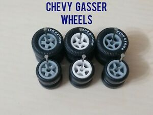HOT WHEELS '55 CHEVY GASSER WHEELS RUBBER WHEELS TIRES 3 SETS 1/64 SIZE 10/13