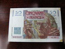 1946 Cinqvante 50 Francs Banqve de France Note Bill