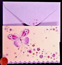 PAPYRUS  Butterfly Pink Purple Flowers *GLITTERED* Small Greeting Note Card  NEW