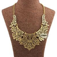 Vintage Jewelry Pendant Chain Choker Chunky Bib Statement Necklace Gold Silver