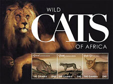 Gambia - Wild Cats of Africa- sheetlet of 3 MNH
