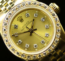 Rolex Ladies Oyster Perpetual 18K Gold Champagne Color Diamond Dial