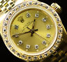 Rolex Ladies Oyster Perpetual 18K Gold Champagne Diamond Dial Bezel