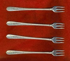 Oneida Nobility Plate ROYAL ROSE 4 Shrimp Seafood Forks Excellent No Monograms