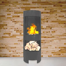 Gelkamin Schwarz mit Holzfach Säule Ethanolkamin Gel-Kamin Wandkamin Kamin NEU
