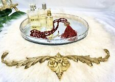 """Vintage Mirror Tray Deco OVAL VANITY Lucite 13"""" Clear Makeup Perfume Jewelry"""