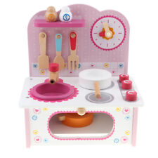 Pink Kitchen Cooking Stove Bench Cookware Playset Kid Role Pretend Play Toys