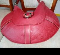 Gucci GG Logo Red Embossed Leather Charmy Hobo Bag Rare Vintage Used