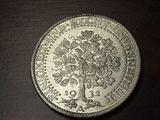1932 A Germany 5 Mark 25.00 Gr. 500 Fine Silver Coin KM# 56 Nice Details