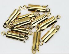 Long Clip Necklace Clasp Slide and Push Smooth Goldtone Pack of 10