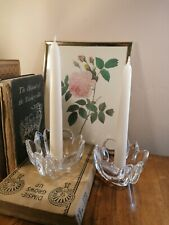 More details for fabulous pair signed vintage orrefors crystal lars hellsten tall candle holders