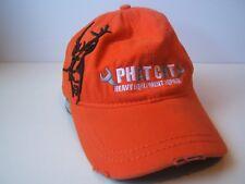 Phat Cat Heavy Equipment Repair Buck Deer Hat Distressed Orange Hook Loop Cap