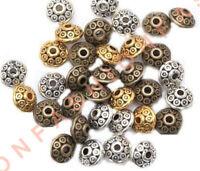 Hot-100&500pcs Rondelle Antique Metal Alloy Bicone Spacer Beads 6mm 3color