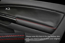 RED STITCH 2X FRONT DOOR CARD SKIN COVER FITS VAUXHALL OPEL CORSA D 06-14 3DR