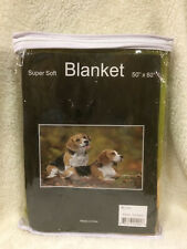 Beagle Dogs Puppies Leaves Grass Puppy Cute Soft Fleece Throw Blanket NEW