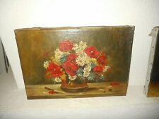 Old oil painting 1.{ Still life - pretty flowers & knife, signed Hertleer 1933 }