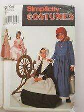 Simplicity 9708 Girls Costume Prairie Centennial Puritan Sewing Pattern Sm M L
