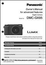 Panasonic Lumix DMC-GX85 Advanced Camera User Guide Instruction Manual