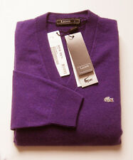 """Superbe Pullover neuf, Col V, 100% cachemire """"Lacoste-Devanlay"""" - T. 3 ou S"""