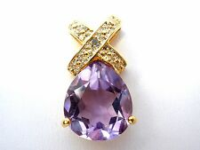 Dbj Amatista Diamond Slide Colgante Collar Vermeil Plata de Ley 925 Joyería