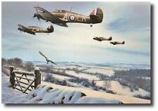 Winter Combat by Richard Taylor - w/ 3 Hurricane Pilot Signatures! - Aviation