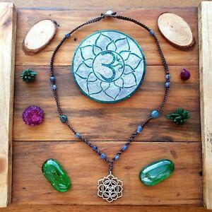 The 'Light, Spirit and Body' Necklace Crystal Merkaba Pendant Hemp GypsyLee