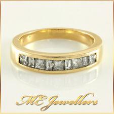 Ladies Solid Yellow Gold Mixed Cut Diamond Wedding Ring 18k 18k 18ct Sz L, 4.4g