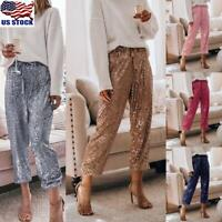 Womens Ladies Sequin Pants High Waist Wide Leg Loose Bottom Casual Long Trousers