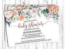 Darling Souvenir Custom Floral Printed Baby Shower Invitations Girl-DS-JSFL1