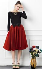 Gorgeous Layered Red Satin Bow Tulle Organza Swing Midi Skirt OS