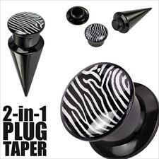 "Ear Taper Plug Acrylic Screw Fit Interchangable 5/8"" 2 in 1 Zebra Black White"