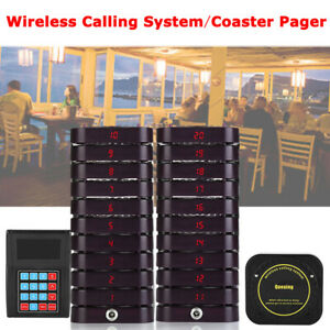 Smart Wireless Queuing Calling Paging Equipment 1Transmitterw/20 Coaster Pagers