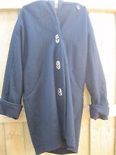 VINTAGE 80s avant garde silver buttons black wool hooded coat jacket