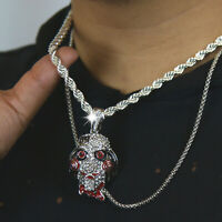 """69 Jigsaw Fully Cz Silver Plated Pendant 6mm 20"""" Rope Choker Free Chain"""