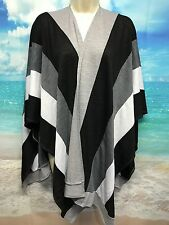 Chico's One Size Gray Wrap Sweater Color Block Striped Lagenlook Swing #444