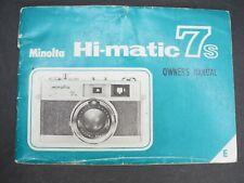 Minolta Hi-Matic 7S Camera Instruction Book / Manual / User Guide