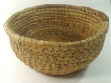 Vintage Primitive Coiled Woven Grass Basket 8 1/2""