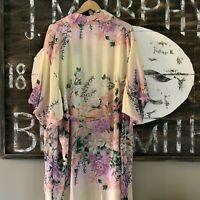 S New Boho Kimono Maxi Long Duster Jacket Leopard Robe Womens Size SMALL NWT