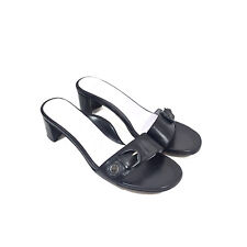 Women's Taryn Rose Black Leather Slides w/ Buckles Size 8.5