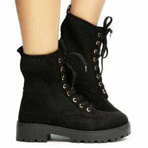 JPO Side Knit Panel Combat Lug Lace Up Boots NEW