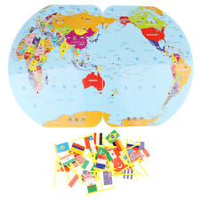 Wooden Jigsaw Puzzle World Map for Kids Flag Match Game Birthday Presents