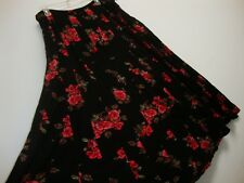 New April Cornell Black Red Rose Skirt L Large Vintage Romantic A-line NWT Tuck